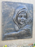 venetian woman wall plaque, bronze verdi finish