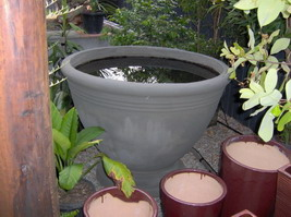 large mediterranean water feature pot, semi formal finish custom colour